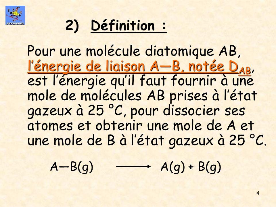 4 2)Définition : lénergie de liaison AB, notée D AB Pour une molécule diatomique AB, lénergie de liaison AB, notée D AB, est lénergie quil faut fourni