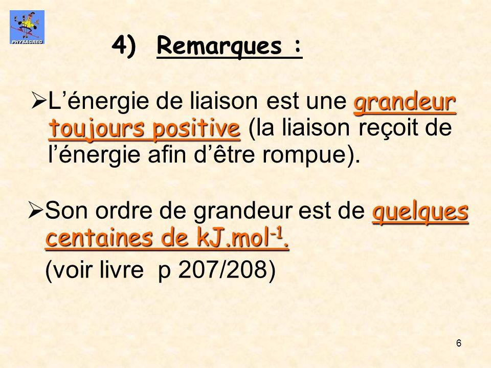 6 4)Remarques : grandeur toujours positive Lénergie de liaison est une grandeur toujours positive (la liaison reçoit de lénergie afin dêtre rompue). q