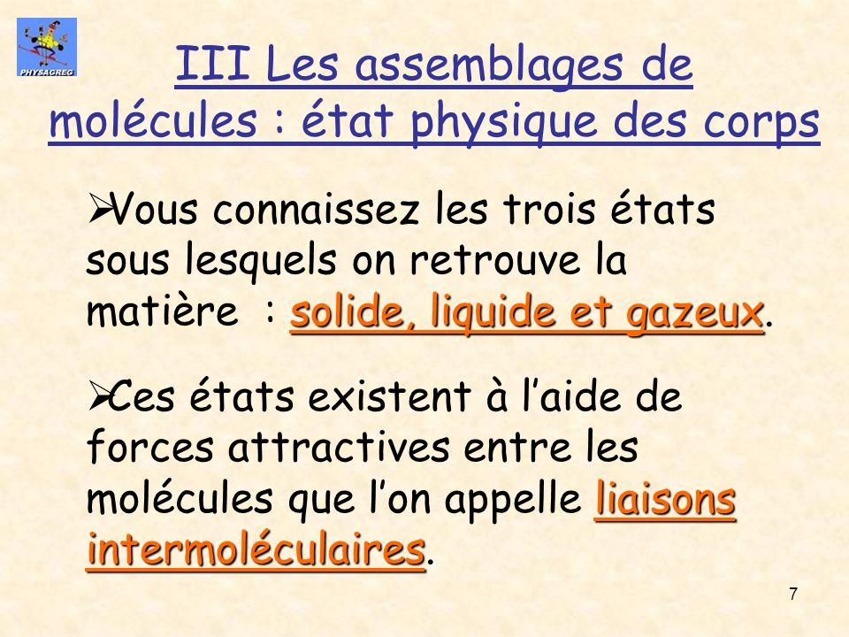 7 III Les assemblages de molécules : état physique des corps solide, liquide et gazeux Vous connaissez les trois états sous lesquels on retrouve la ma