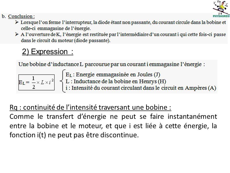 2) Expression : Rq : continuité de lintensité traversant une bobine : Comme le transfert dénergie ne peut se faire instantanément entre la bobine et le moteur, et que i est liée à cette énergie, la fonction i(t) ne peut pas être discontinue.