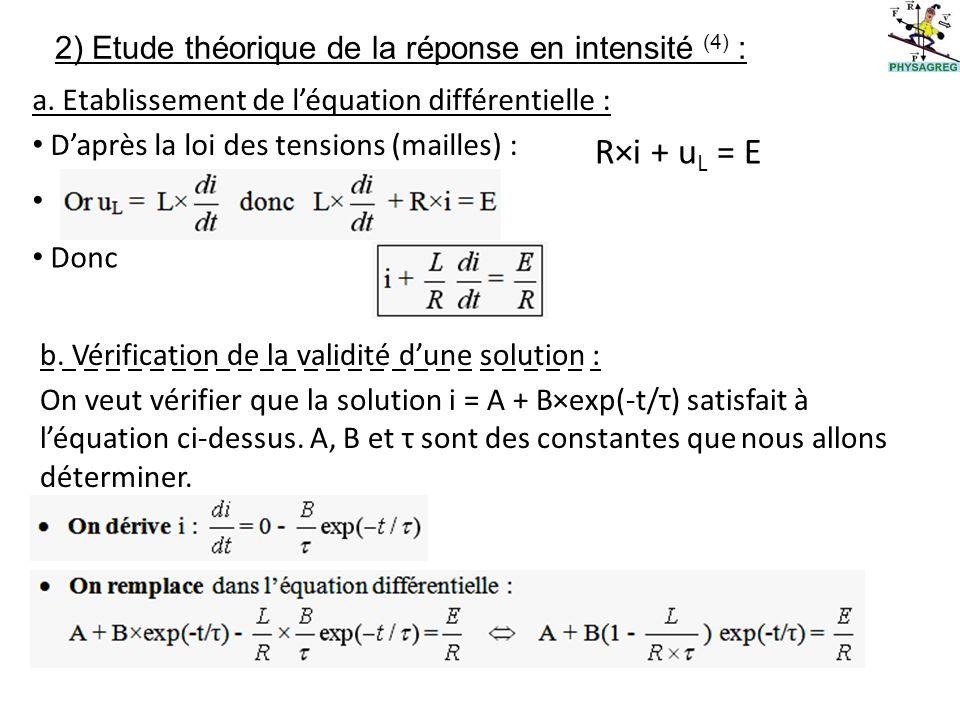 2) Etude théorique de la réponse en intensité (4) : Daprès la loi des tensions (mailles) : R×i + u L = E Donc a.