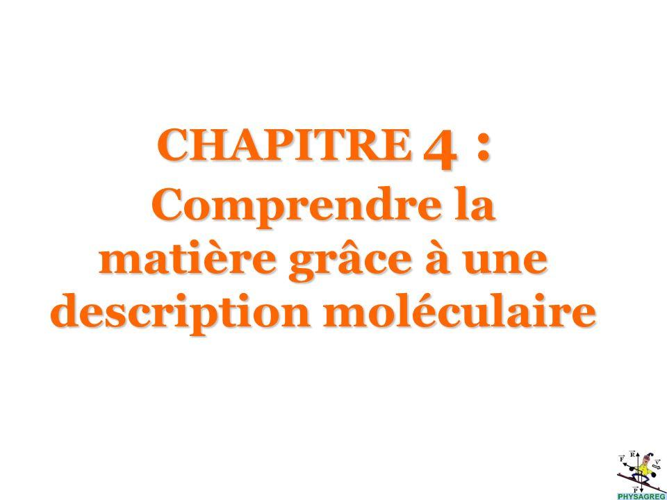 Comprendre la matière grâce à une description moléculaire CHAPITRE 4 :