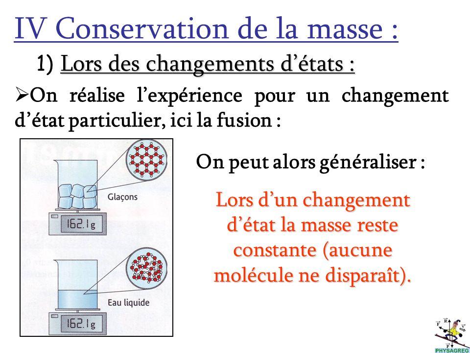 IV Conservation de la masse : L 1) Lors des changements détats : On réalise lexpérience pour un changement détat particulier, ici la fusion : On peut