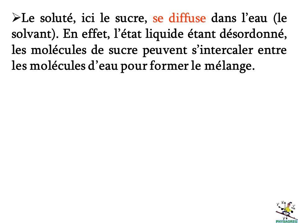 Le soluté, ici le sucre, s ss se diffuse dans leau (le solvant). En effet, létat liquide étant désordonné, les molécules de sucre peuvent sintercaler
