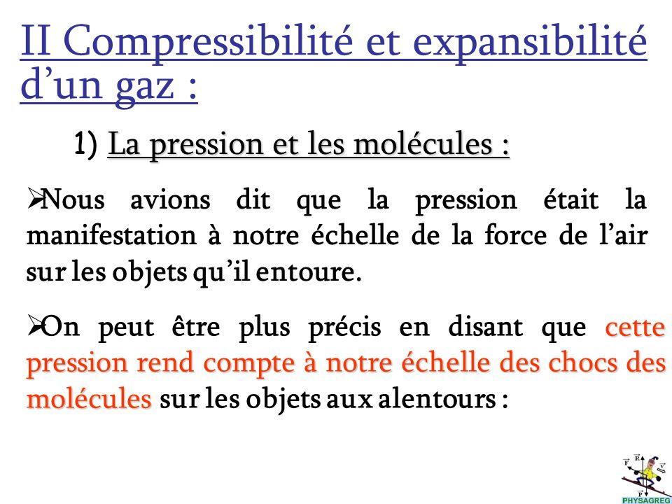 II Compressibilité et expansibilité dun gaz : L 1) La pression et les molécules : Nous avions dit que la pression était la manifestation à notre échel