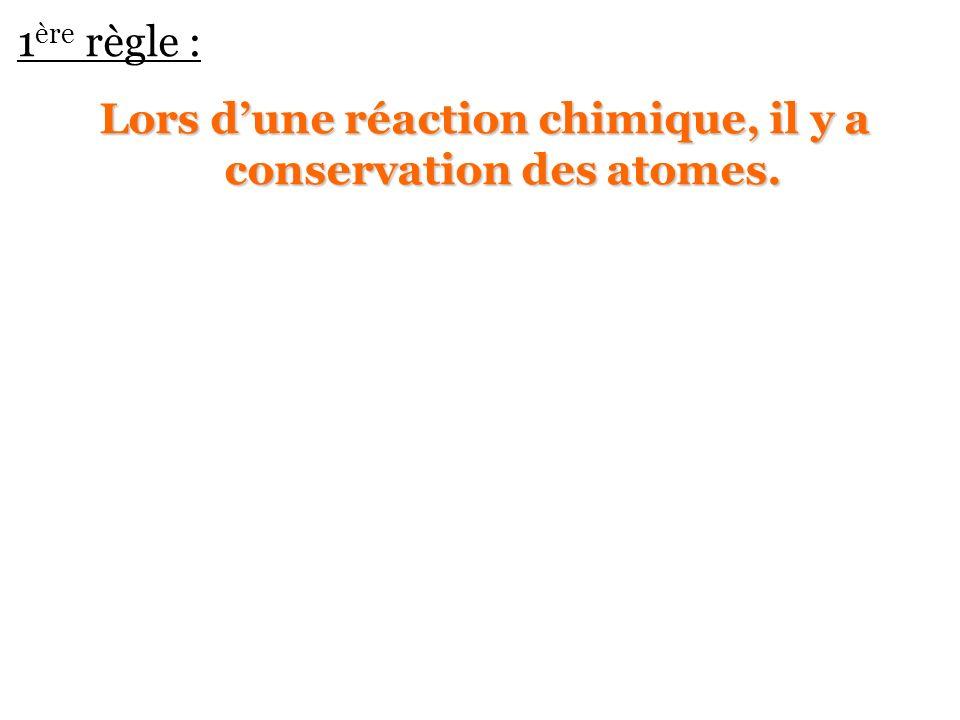 1 ère règle : Lors dune réaction chimique, il y a conservation des atomes.