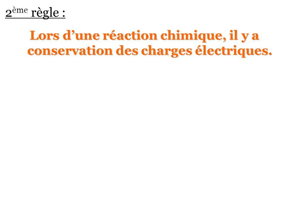 2 ème règle : Lors dune réaction chimique, il y a conservation des charges électriques.