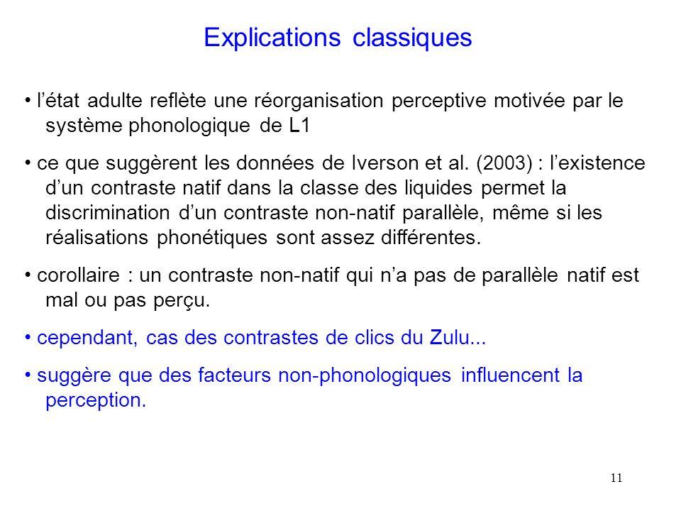 10 Explications classiques les contrastes non-natifs qui nont pas déquivalent dans la langue ne sont pas ou sont mal perçus.