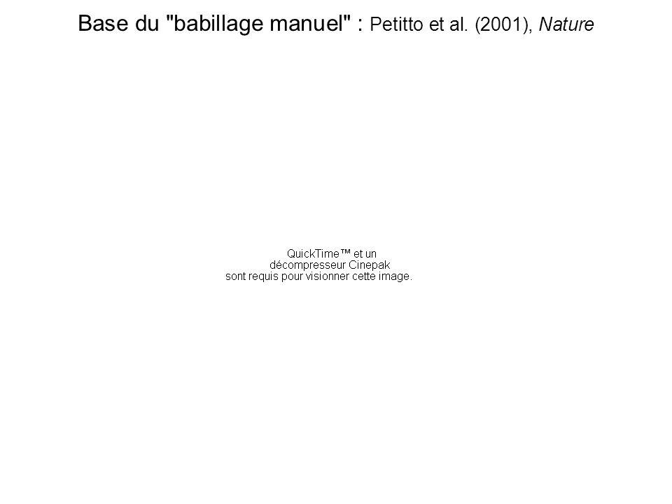 Petitto et al., 2001, Nature Les enfants exposés à l'ASL ont, en plus du beat