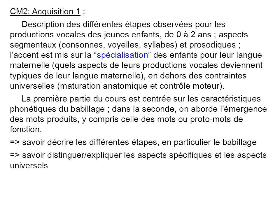 L7PHO (CM2) Acquisition de la parole: production, du babillage aux premiers mots (P. Hallé, LPP) 8 Octobre 2008