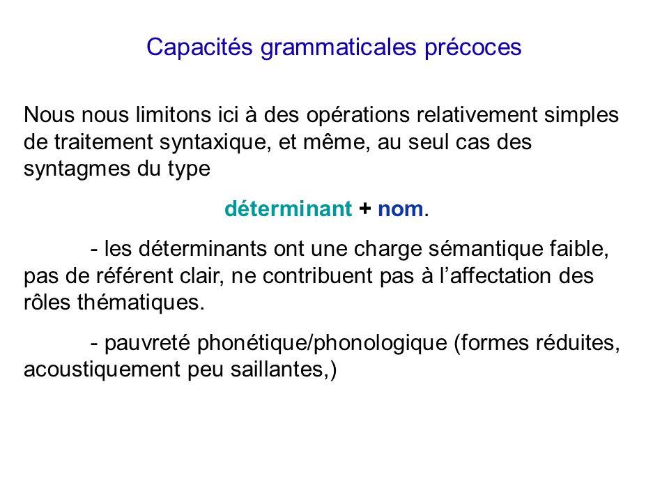 Systématisation proto-phonologique Exemple : Henri (cf. de Boysson-Bardies, 1996) modifie les mots de structure mVCV (/m/-voyelle-consonne-voyelle) en