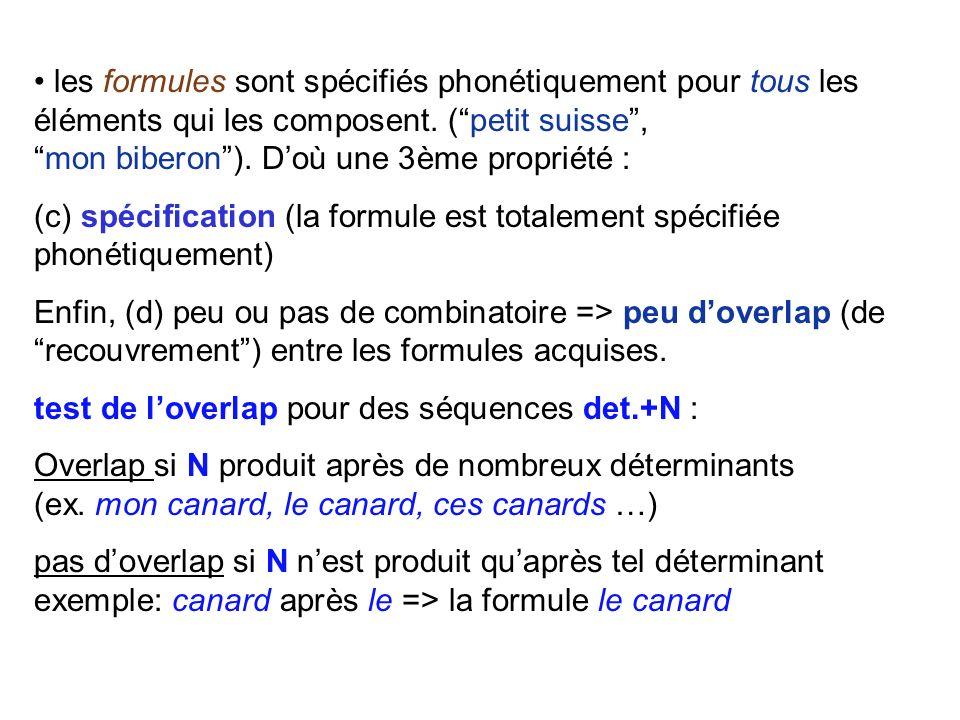 point de vue empiriste : formules apprises lenfant extrait peu à peu de linput des séquences qui ne sont dabord pas analysées (mots globaux); il acqui