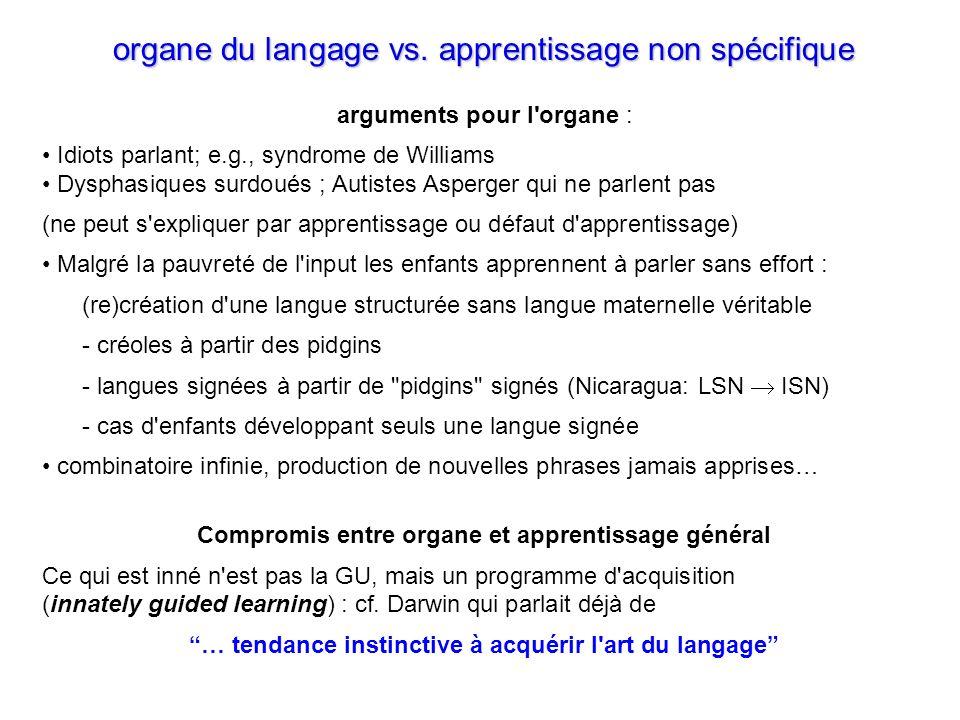 organe du langage vs.apprentissage non spécifique organe du langage vs.