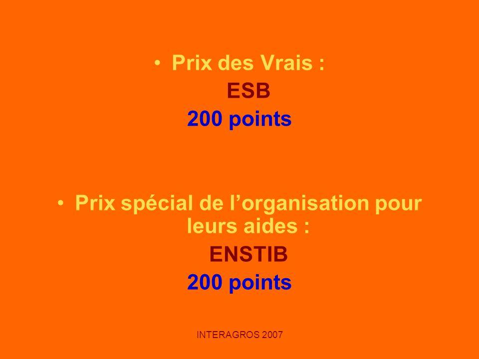 INTERAGROS 2007 Prix des Vrais : ESB 200 points Prix spécial de lorganisation pour leurs aides : ENSTIB 200 points
