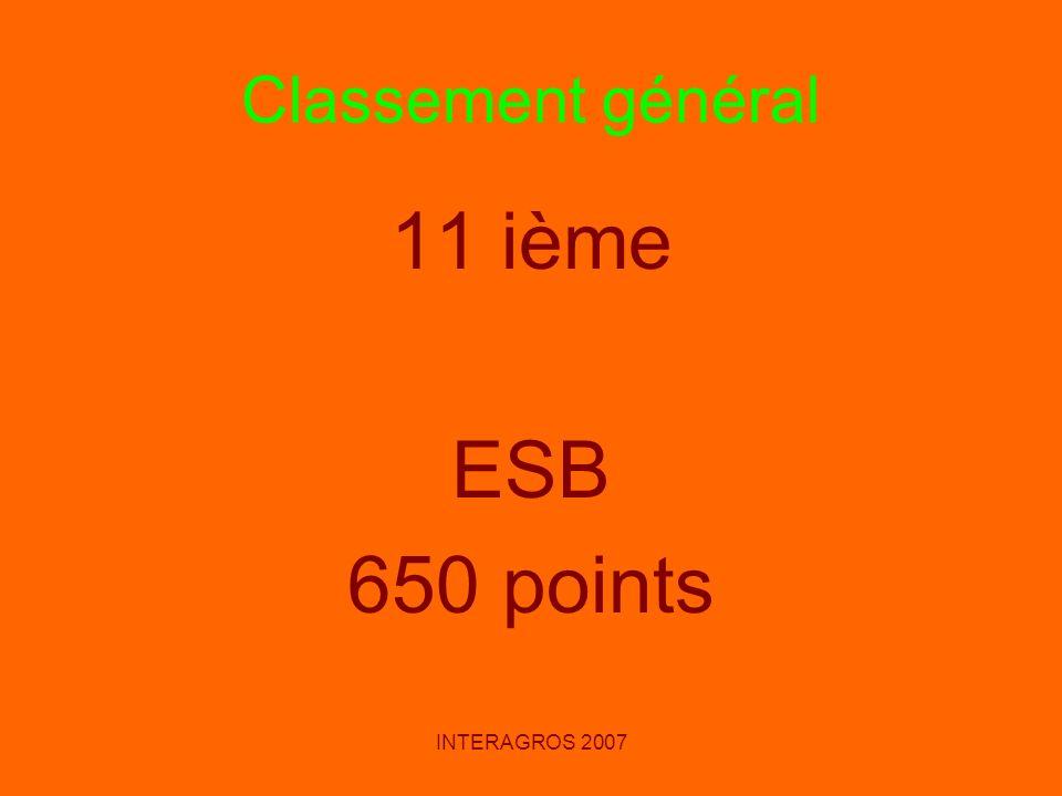 INTERAGROS 2007 Classement général 11 ième ESB 650 points