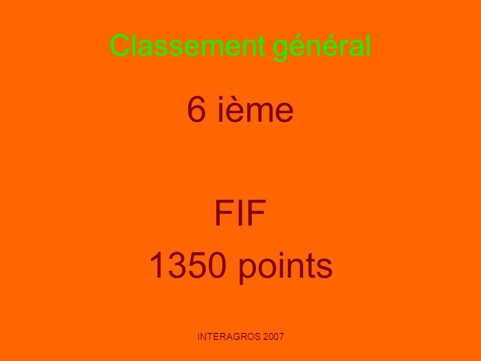 INTERAGROS 2007 Classement général 6 ième FIF 1350 points