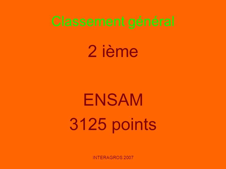 INTERAGROS 2007 Classement général 2 ième ENSAM 3125 points