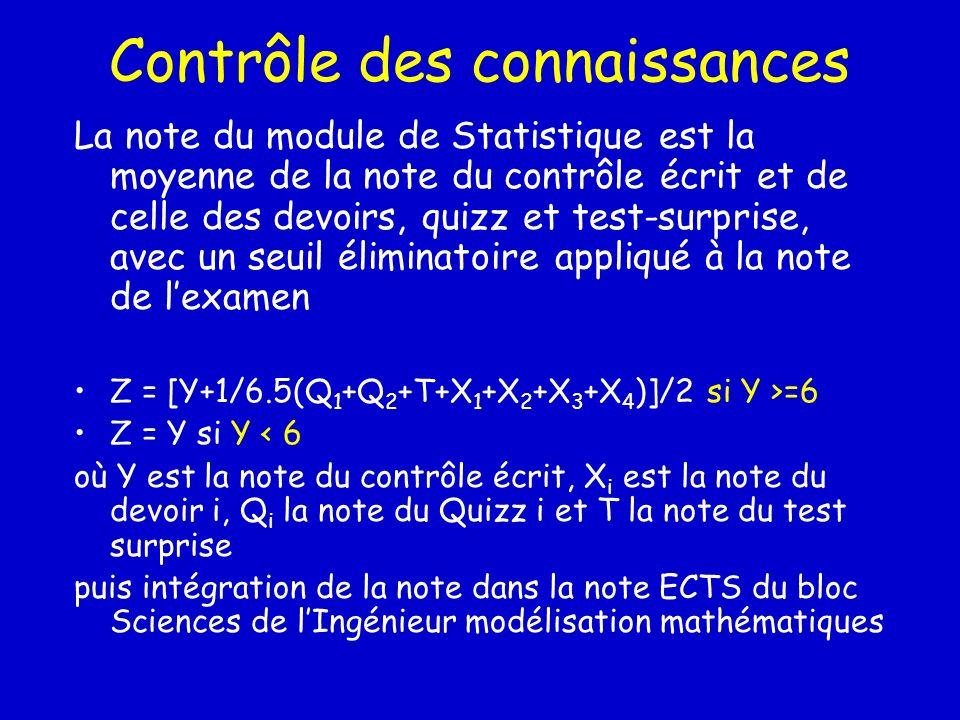 Contrôle des connaissances La note du module de Statistique est la moyenne de la note du contrôle écrit et de celle des devoirs, quizz et test-surpris