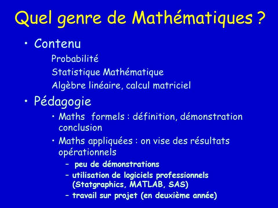 Quel genre de Mathématiques ? Contenu Probabilité Statistique Mathématique Algèbre linéaire, calcul matriciel Pédagogie Maths formels : définition, dé