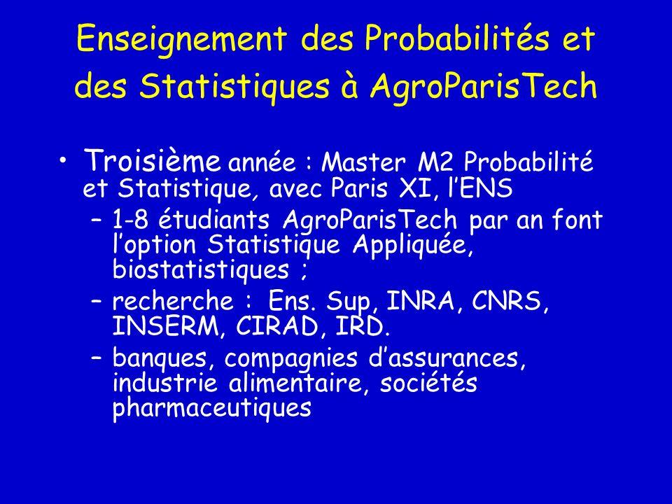 Enseignement des Probabilités et des Statistiques à AgroParisTech Troisième année : Master M2 Probabilité et Statistique, avec Paris XI, lENS –1-8 étu