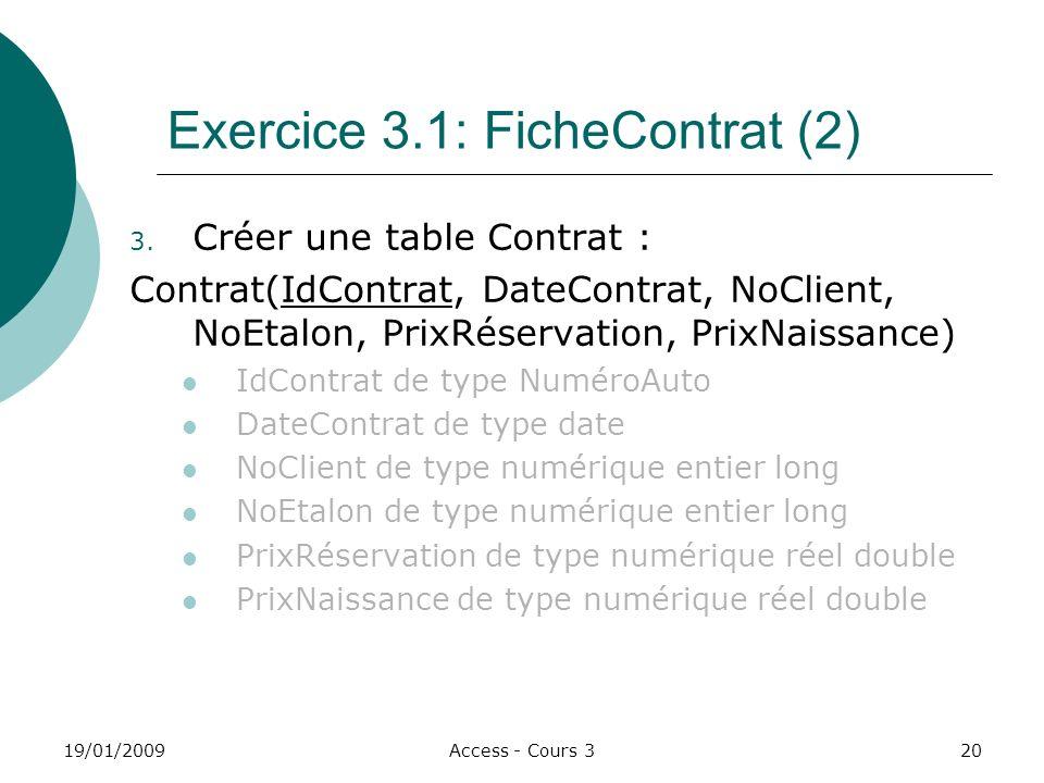 19/01/2009Access - Cours 320 Exercice 3.1: FicheContrat (2) 3.