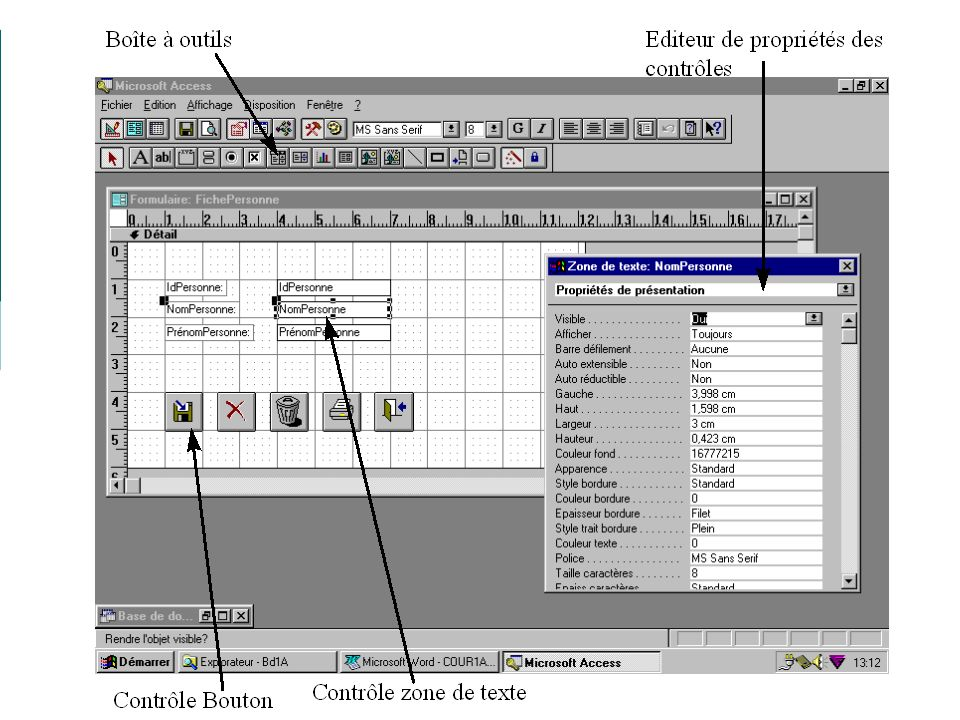 19/01/2009Access - Cours 319 Exercice 3.1: FicheContrat 1.