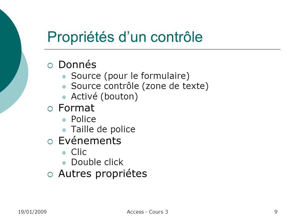 19/01/2009Access - Cours 310 Formulaires 1.Formulaire Personne Formulaire instantané: Colonnes.