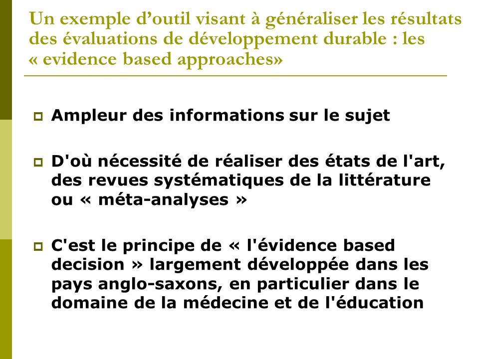 Un exemple doutil visant à généraliser les résultats des évaluations de développement durable : les « evidence based approaches» Ampleur des informati