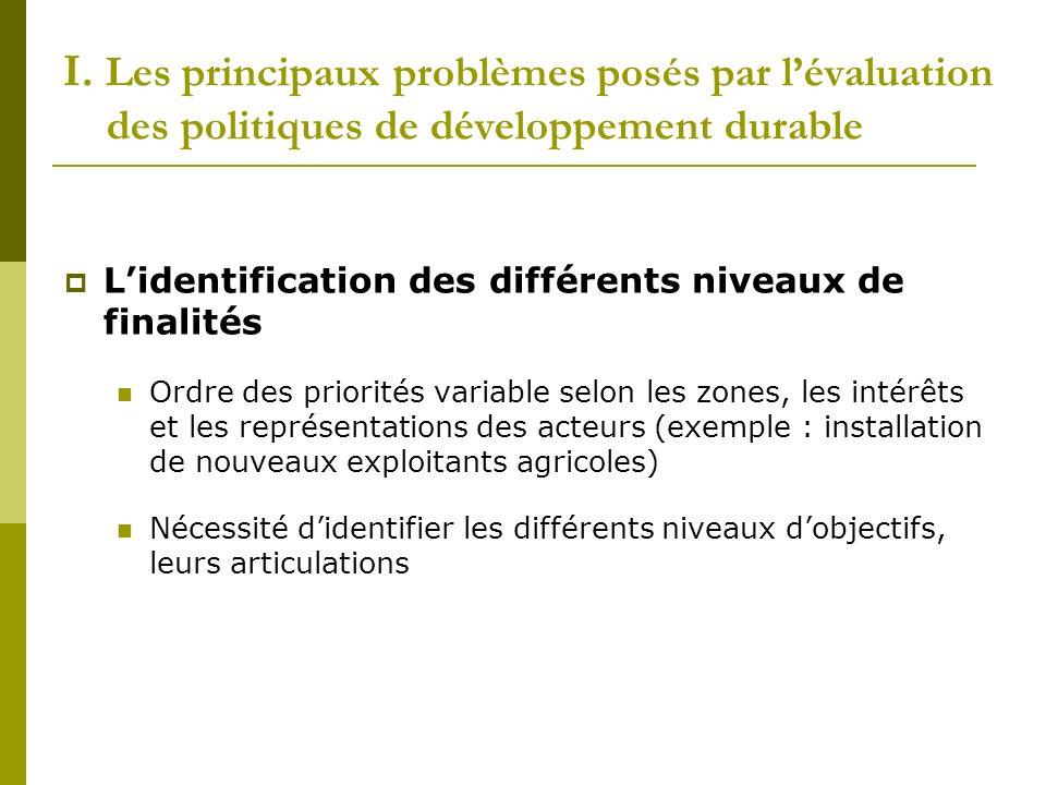 I. Les principaux problèmes posés par lévaluation des politiques de développement durable Lidentification des différents niveaux de finalités Ordre de