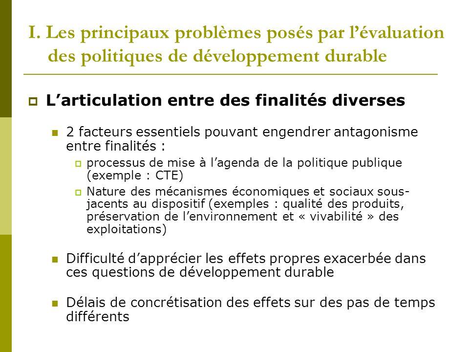 I. Les principaux problèmes posés par lévaluation des politiques de développement durable Larticulation entre des finalités diverses 2 facteurs essent