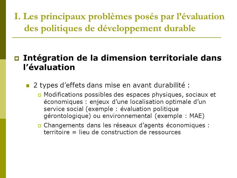 I. Les principaux problèmes posés par lévaluation des politiques de développement durable Intégration de la dimension territoriale dans lévaluation 2