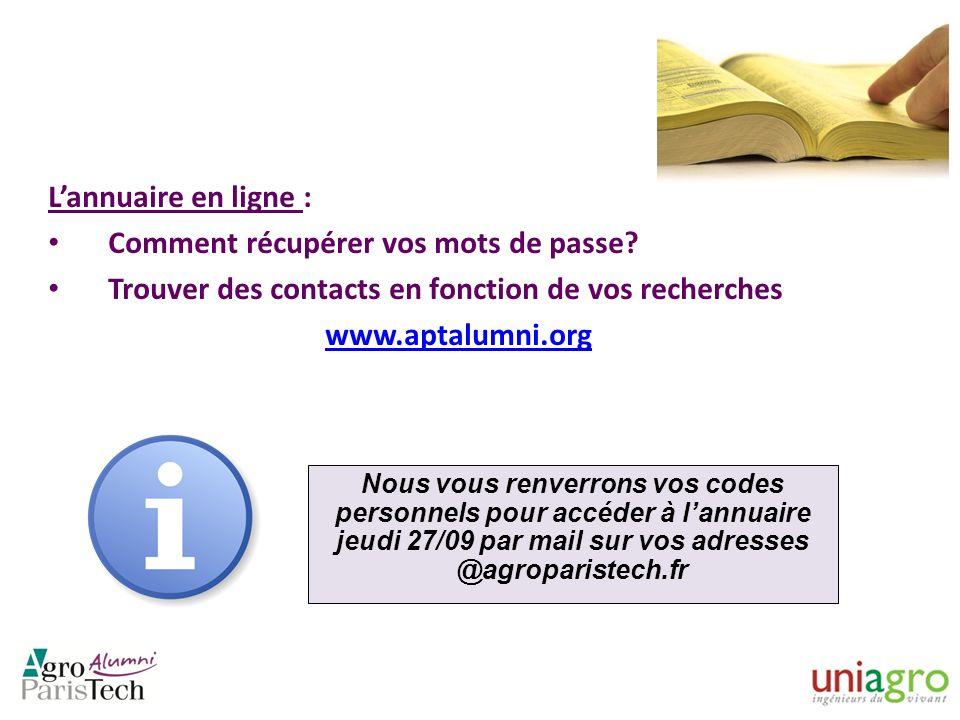 Lannuaire en ligne : Comment récupérer vos mots de passe? Trouver des contacts en fonction de vos recherches www.aptalumni.org Nous vous renverrons vo