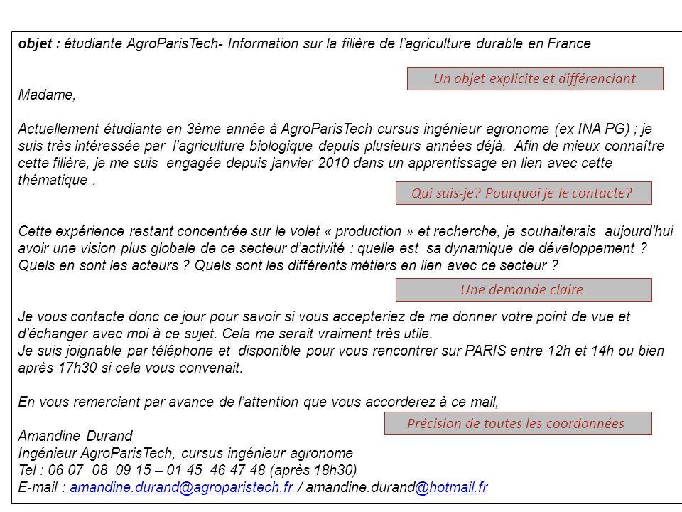 objet : étudiante AgroParisTech- Information sur la filière de lagriculture durable en France Madame, Actuellement étudiante en 3ème année à AgroParis