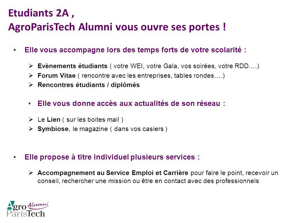 Etudiants 2A, AgroParisTech Alumni vous ouvre ses portes ! Elle vous accompagne lors des temps forts de votre scolarité : Evènements étudiants ( votre