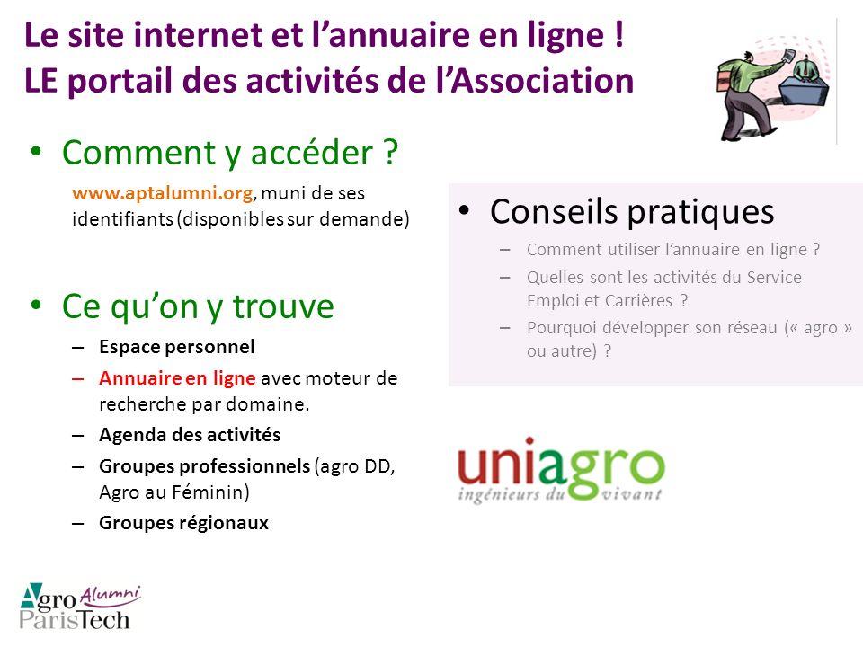 Le site internet et lannuaire en ligne ! LE portail des activités de lAssociation Comment y accéder ? www.aptalumni.org, muni de ses identifiants (dis