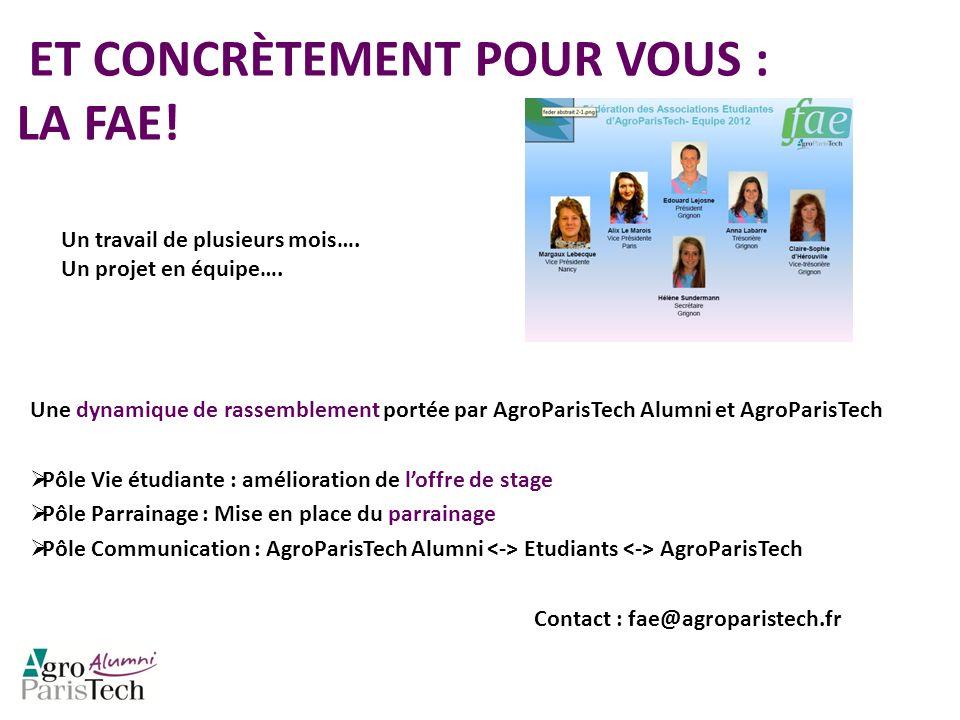 ET CONCRÈTEMENT POUR VOUS : LA FAE! Une dynamique de rassemblement portée par AgroParisTech Alumni et AgroParisTech Pôle Vie étudiante : amélioration