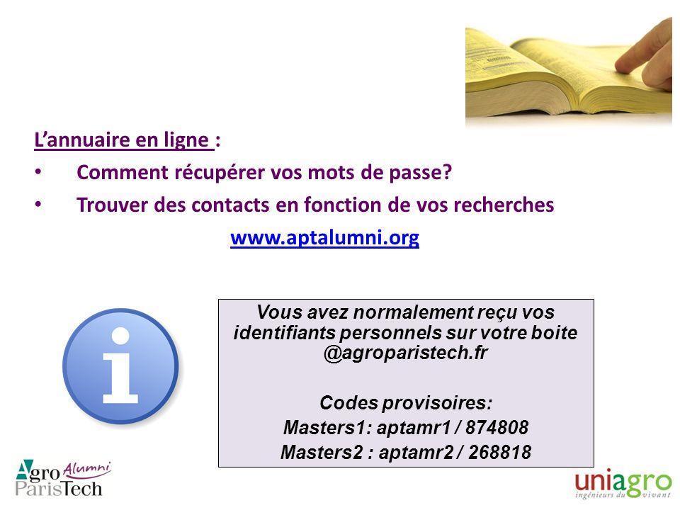 Lannuaire en ligne : Comment récupérer vos mots de passe? Trouver des contacts en fonction de vos recherches www.aptalumni.org Vous avez normalement r