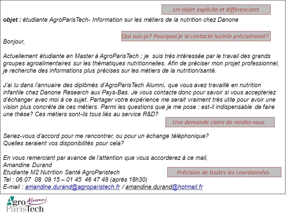 objet : étudiante AgroParisTech- Information sur les métiers de la nutrition chez Danone Bonjour, Actuellement étudiante en Master à AgroParisTech ; j