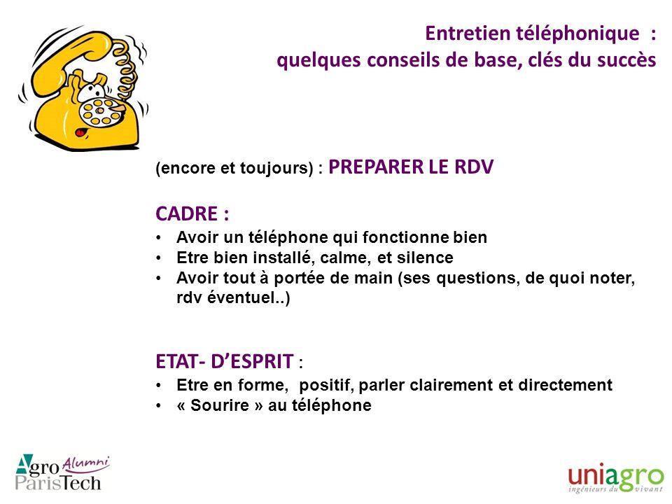 Entretien téléphonique : quelques conseils de base, clés du succès (encore et toujours) : PREPARER LE RDV CADRE : Avoir un téléphone qui fonctionne bi
