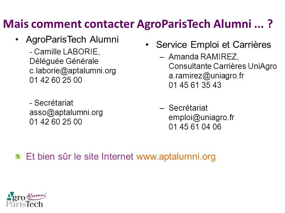 Mais comment contacter AgroParisTech Alumni... ? AgroParisTech Alumni - Camille LABORIE, Déléguée Générale c.laborie@aptalumni.org 01 42 60 25 00 - Se