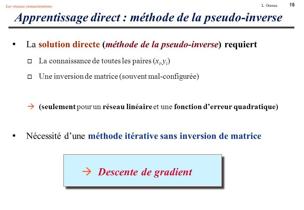 15 L. Orseau Les réseaux connexionnistes Apprentissage direct : méthode de la pseudo-inverse La solution directe (méthode de la pseudo-inverse) requie