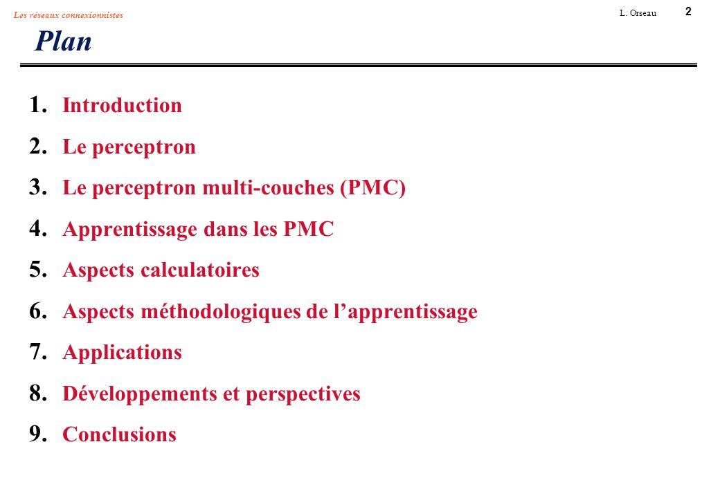 2 L. Orseau Les réseaux connexionnistes Plan 1. Introduction 2. Le perceptron 3. Le perceptron multi-couches (PMC) 4. Apprentissage dans les PMC 5. As