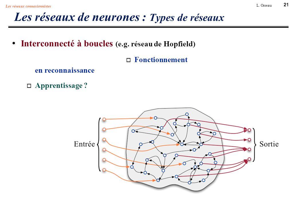 21 L. Orseau Les réseaux connexionnistes Les réseaux de neurones : Types de réseaux Interconnecté à boucles (e.g. réseau de Hopfield) Fonctionnement e