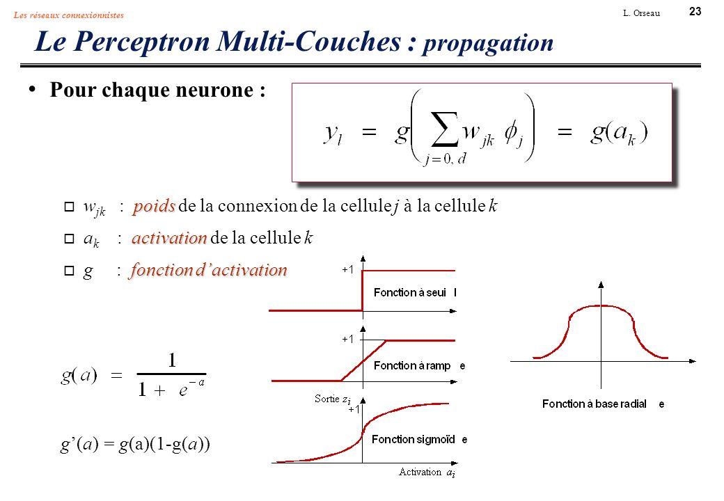 23 L. Orseau Les réseaux connexionnistes Le Perceptron Multi-Couches : propagation Pour chaque neurone : poids w jk : poids de la connexion de la cell