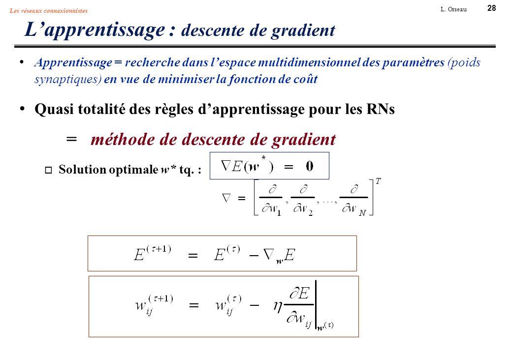 28 L. Orseau Les réseaux connexionnistes Lapprentissage : descente de gradient Apprentissage = recherche dans lespace multidimensionnel des paramètres
