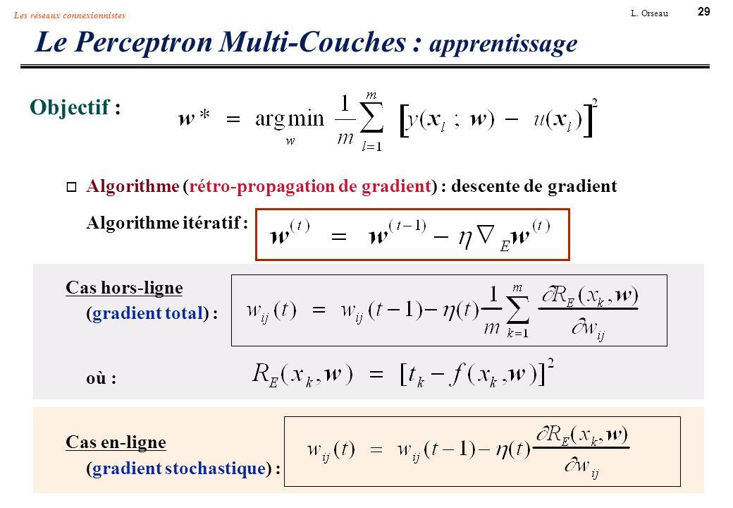 29 L. Orseau Les réseaux connexionnistes Le Perceptron Multi-Couches : apprentissage Objectif : Algorithme (rétro-propagation de gradient) : descente