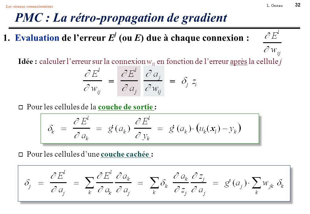 32 L. Orseau Les réseaux connexionnistes 1. Evaluation de lerreur E j (ou E) due à chaque connexion : Idée : calculer lerreur sur la connexion w ji en