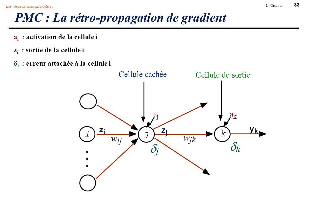 33 L. Orseau Les réseaux connexionnistes PMC : La rétro-propagation de gradient a i : activation de la cellule i z i : sortie de la cellule i i : erre