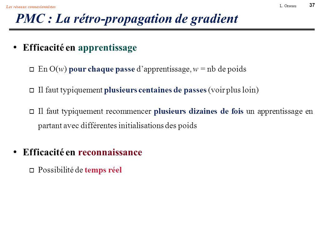 37 L. Orseau Les réseaux connexionnistes PMC : La rétro-propagation de gradient Efficacité en apprentissage En O(w) pour chaque passe dapprentissage,