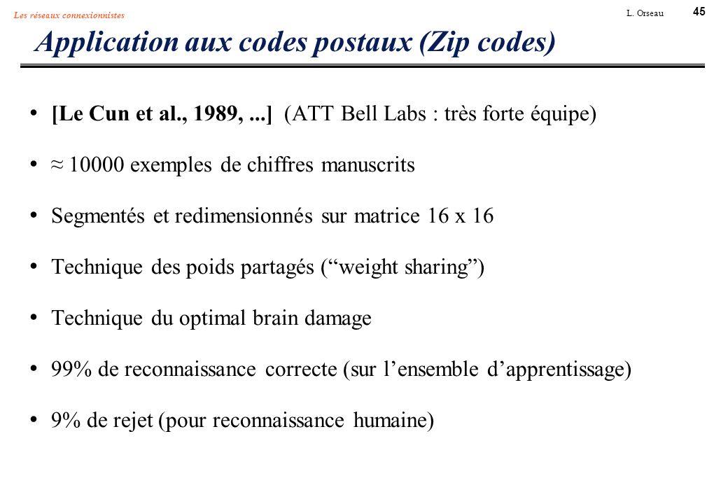45 L. Orseau Les réseaux connexionnistes Application aux codes postaux (Zip codes) [Le Cun et al., 1989,...] (ATT Bell Labs : très forte équipe) 10000